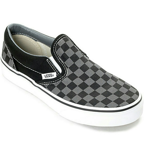 7c4f37c9ab Black Gray Checkered Vans Slip Ons. M 5a7fe1f350687c3b3c87c260